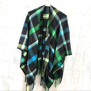 Plaid Tartan poncho shawl blanket scarf shrug